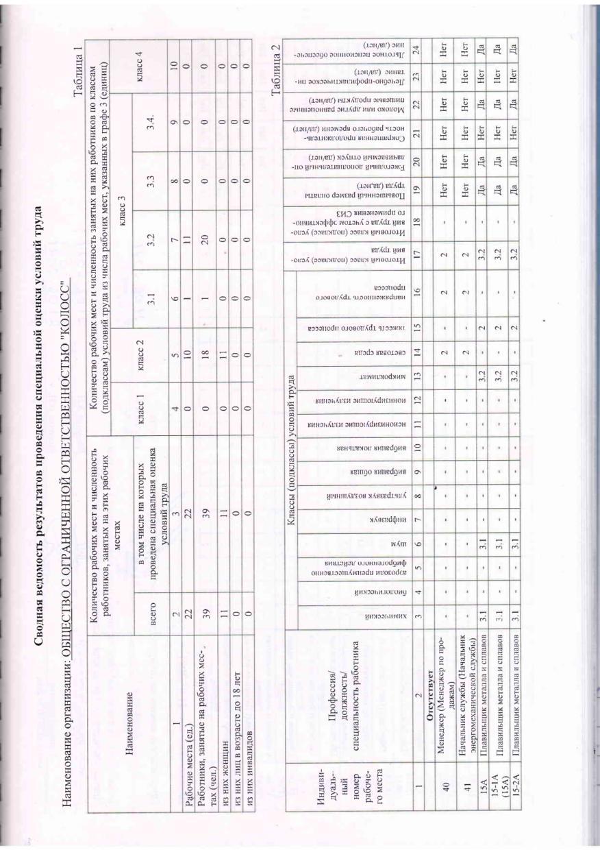 Сводная ведомость результатов проведения специальной оценки условий труда 2021 лист 1